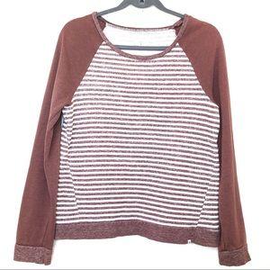Volcom Striped Sweatshirt Brown Size Small Petite